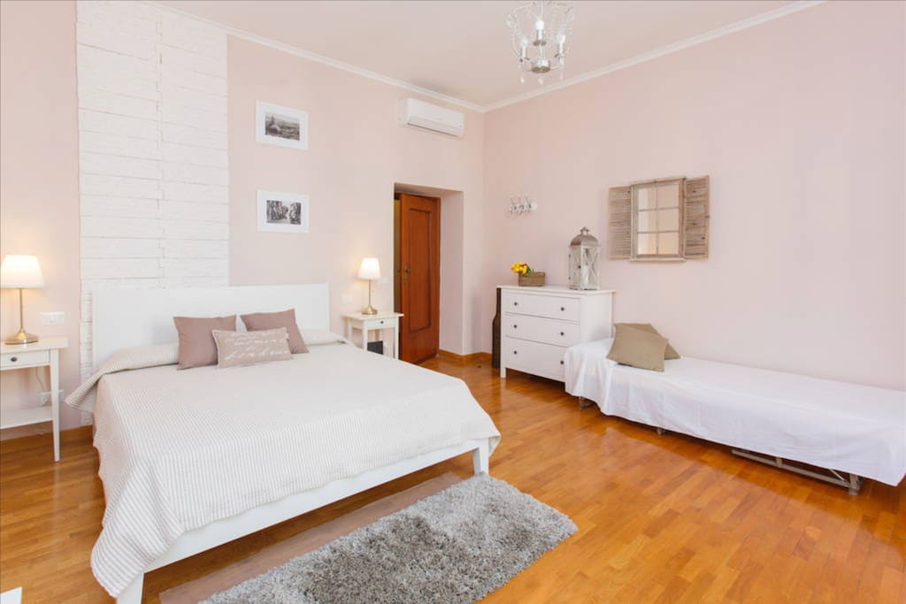 The biggest room can be a triple room with double bed and extra single bed (on request)