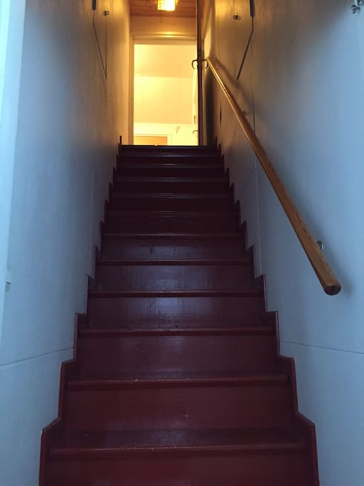 Stairs from entrance hallway to self contained upstairs