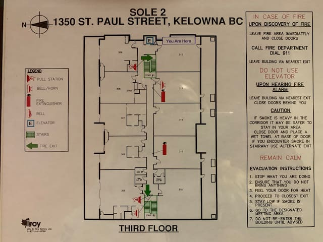 A floor plan of the 3rd floor of the building for your knowledge and safety. It can be found next to the elevator just outside your door.