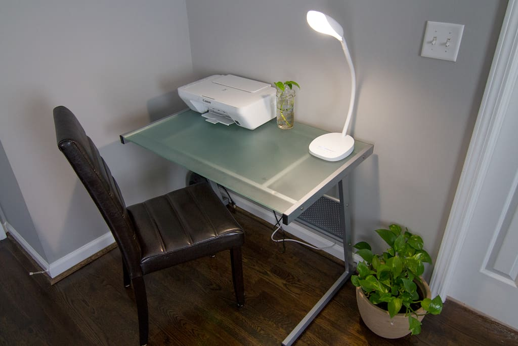 Your own private work space with printer, desk lamp and blazing wi-fi.