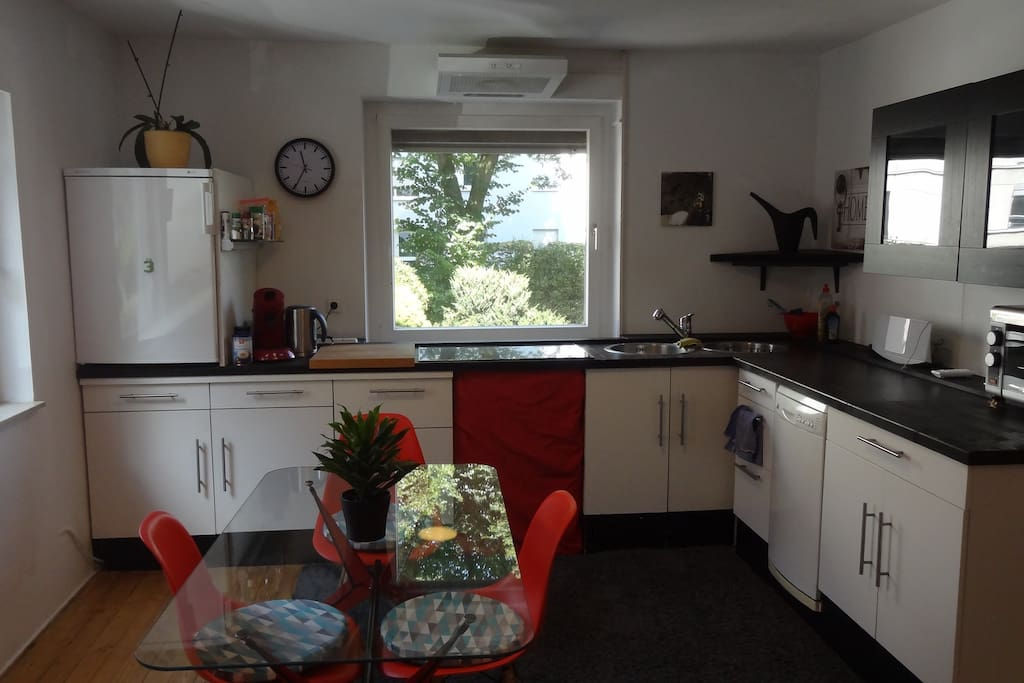 Kitchen, Coffeemaschine, Dishwasher, Fridge and everythink for cooking and eating