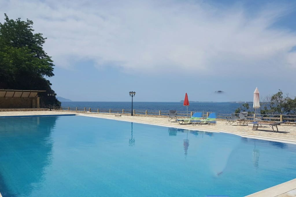 The pool of the resort with sea view