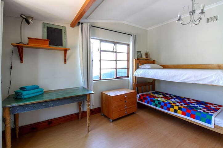 This is the 2nd bedroom downstairs which can be used as a bunk bed or two single beds. Both beds will have luxurious duvets with only white linen.