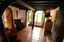 Second reception room/snug with wood burner, TV and sofa