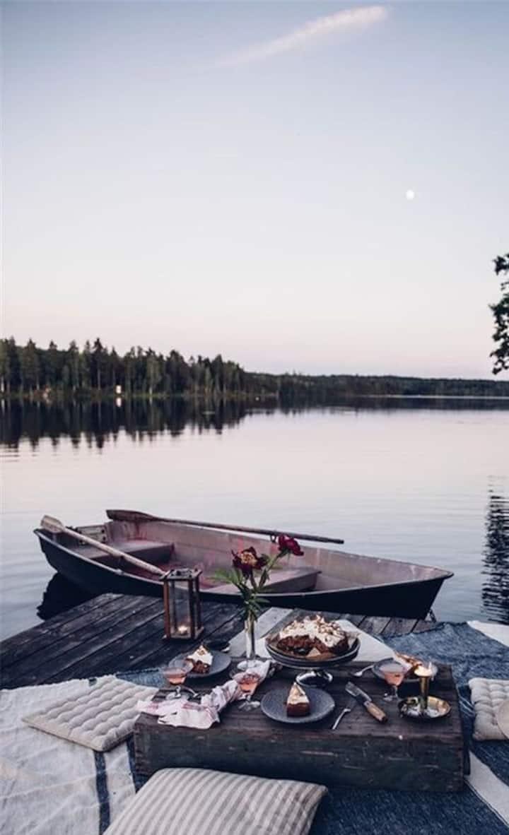 Dom przy jeziorze na skraju lasu
