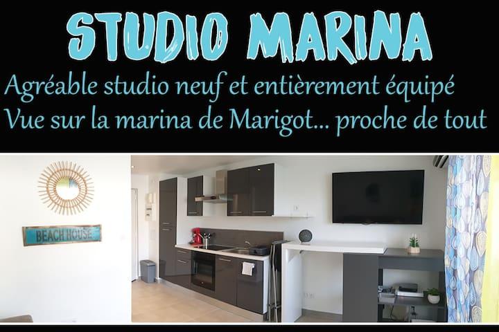 Studio tout confort vue Marina