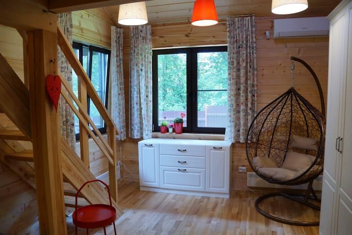 Новый уютный дом с сауной и камином