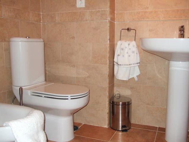 Bathroom with bath, shower and bidet