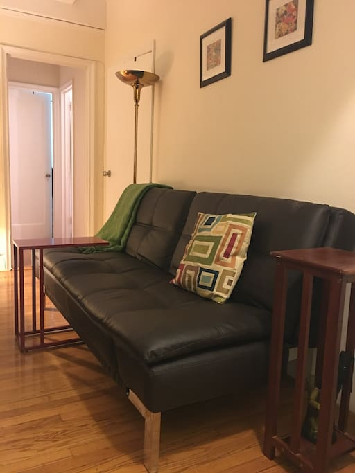 Comfy couch for watching TV or hanging out. It folds out into a queen size futon.