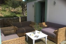 Upper terrace , shaded from the morning sun , perfect for your morning coffee