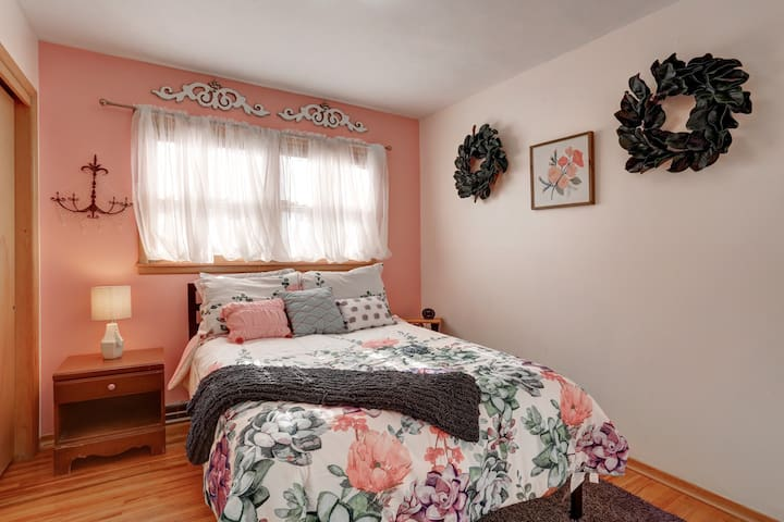 Pretty in pink, this full size bed is cozy soft.