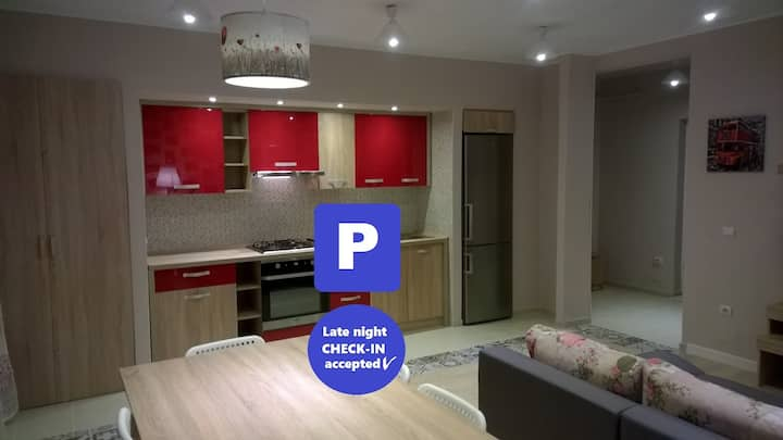IGI red modern flat with parking