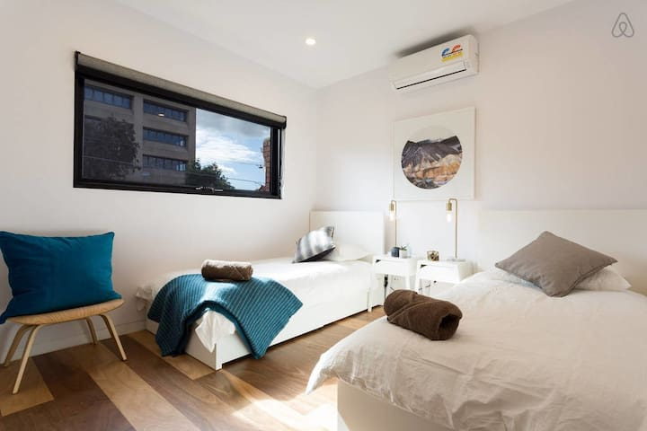 First Bedroom (Ground Floor) 2 singles with aircon/heating