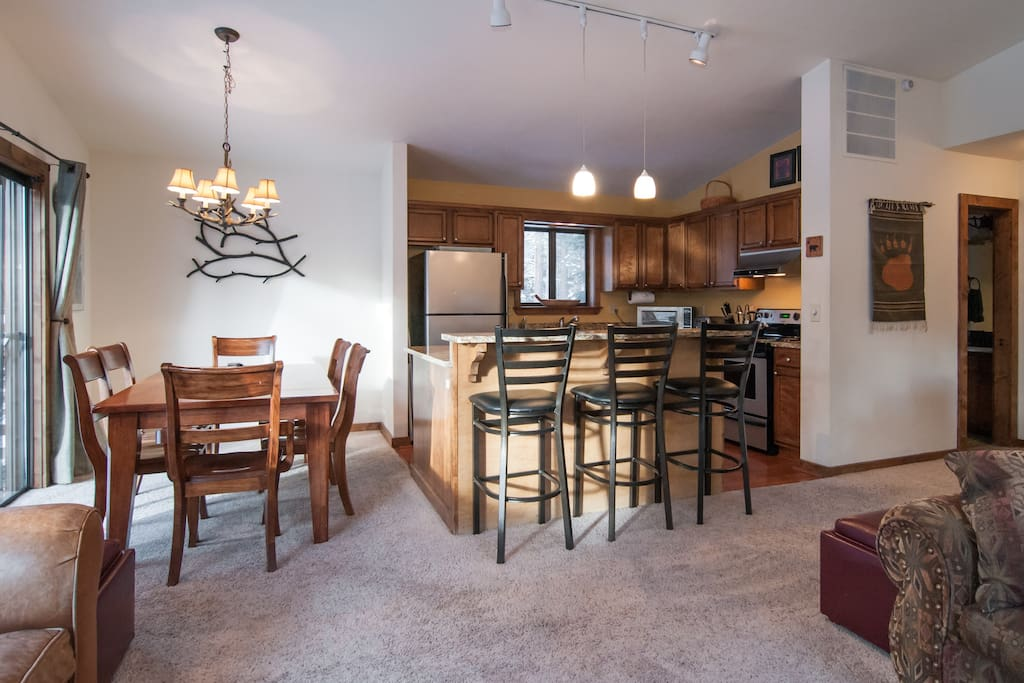 Dining for 6 plus barstools. Open Island Kitchen