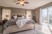 "Master bedroom with west facing views. Very comfortable king size bed with comfy down comforter, Egyptian cotton sheets, and down pillows. The bedroom has a 40"" LCD TV with ATT UVerse cable and blue ray player that you can access Amazon Prime, Hulu and Netflix."