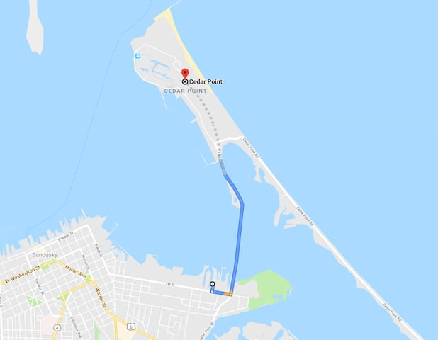 The Catalina Boathouse is very, very close to Cedar Point! (1.7 miles)
