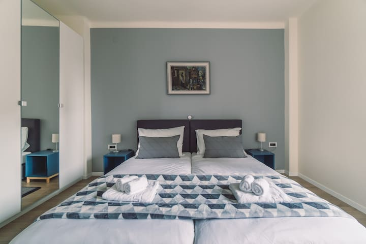 Master bedroom can accomodate two persons and beds can be set up as one double bed or two single beds