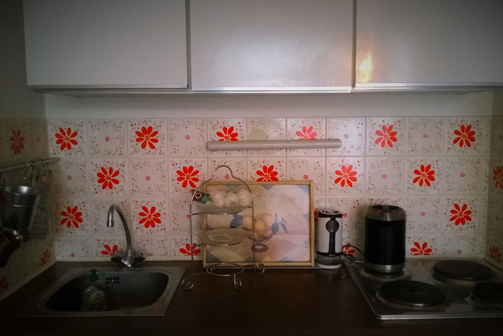 a kitchenette with an oven, hot plates and water boiler
