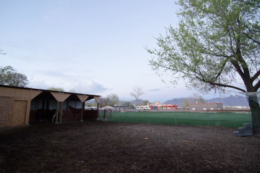 View from the backyard.  Notice the proximity of the light rail line and view of the mountains.