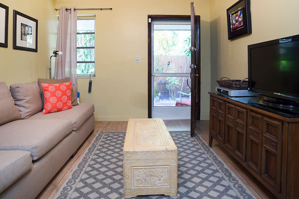 Great natural light plus a flat screen and cable TV for a colorful dose of the man-made kind.