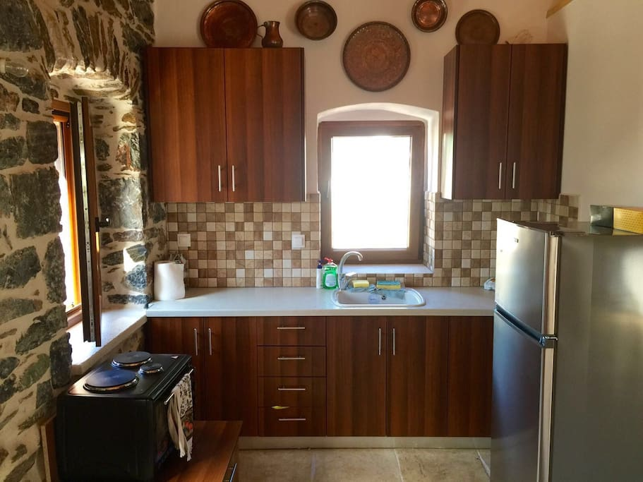 The kitchen with fridge and small oven