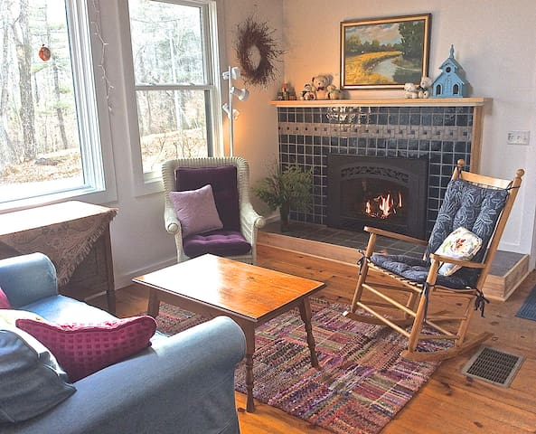 Charming country living room with new gas fireplace.