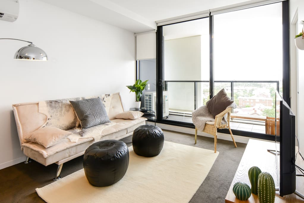 Open plan living in such a relaxed and stylish setting - the sofa converts to a bed sleeping an 5th person