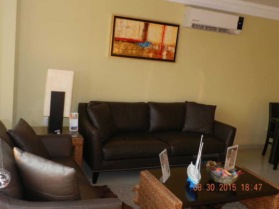 Living room with mini split air and two ceiling fans