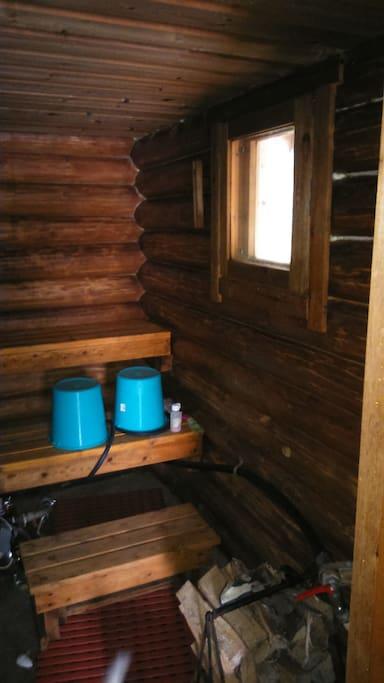 The sauna offers superb bath.