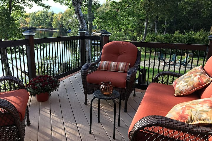 Lakefront Deck with new wicker patio furniture.