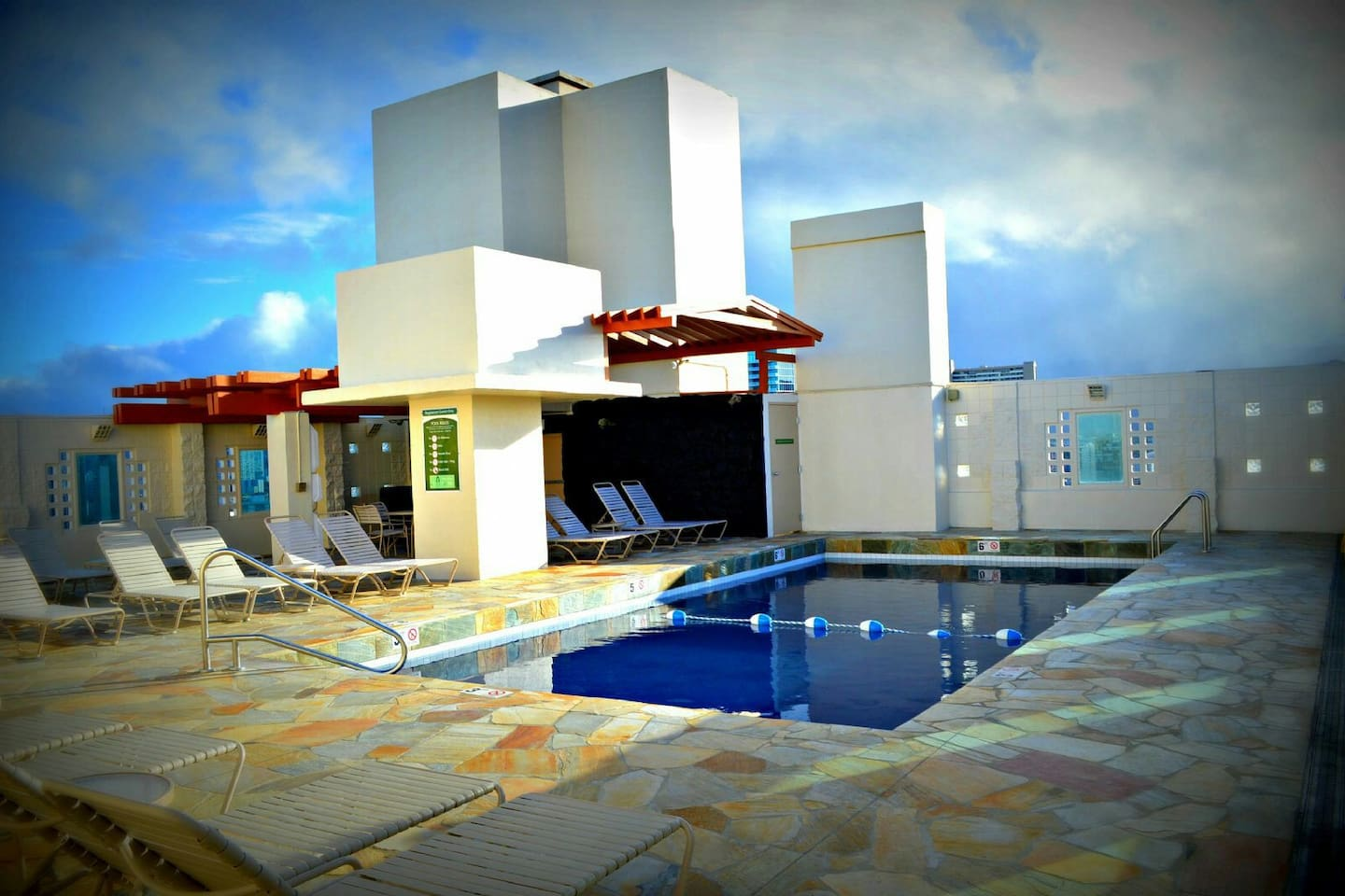 Rooftop pool for views and sunbathing