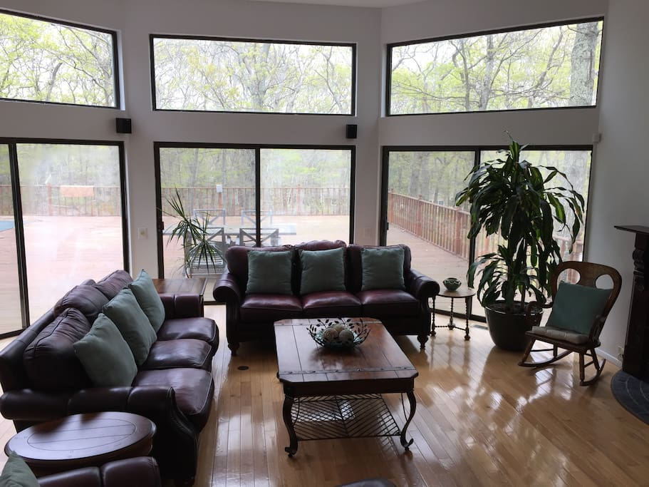 Lightfilled living room with large screen TV