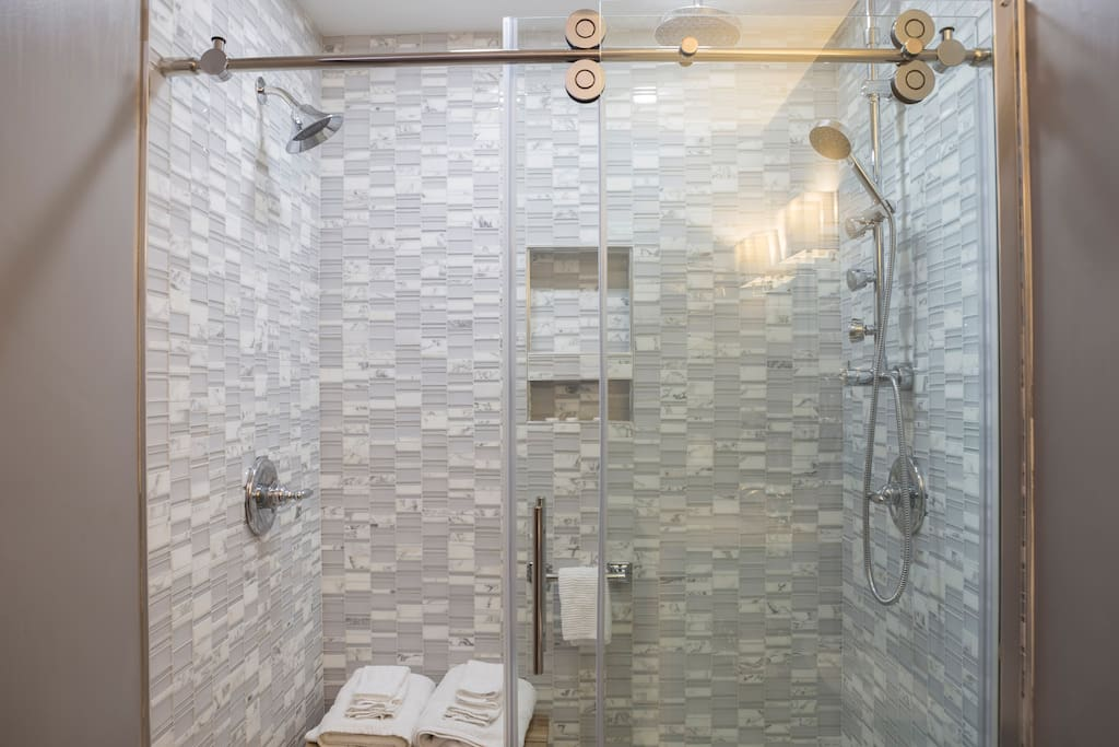 Two person rainfall shower with body jets. Perfectly private off the downstairs bedroom