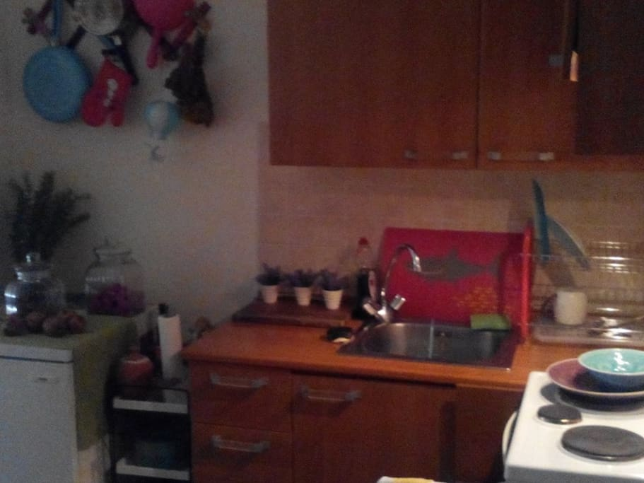 Full equipped kitchen, with coffee machine, oven, refrigerator, plates, glasses, pots etc