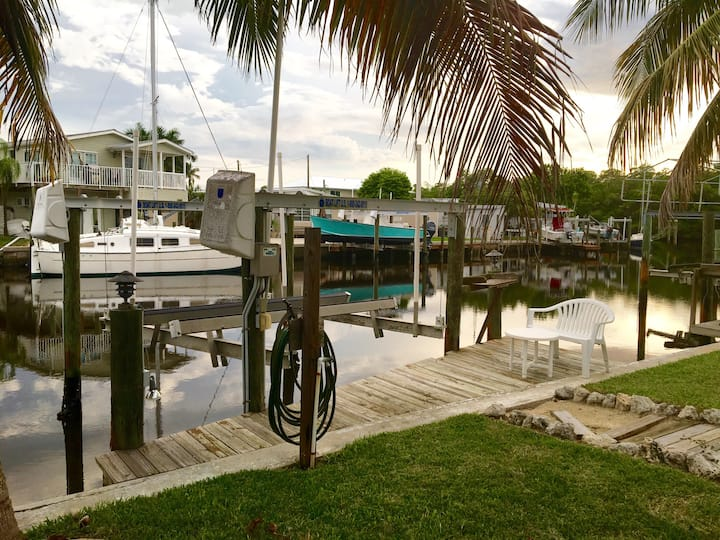 The Snook House - waterfront with dock and lift.