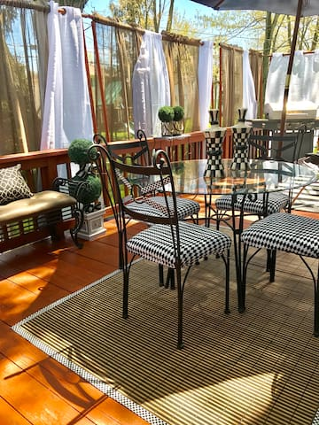 We open our outdoor deck area to our guest.