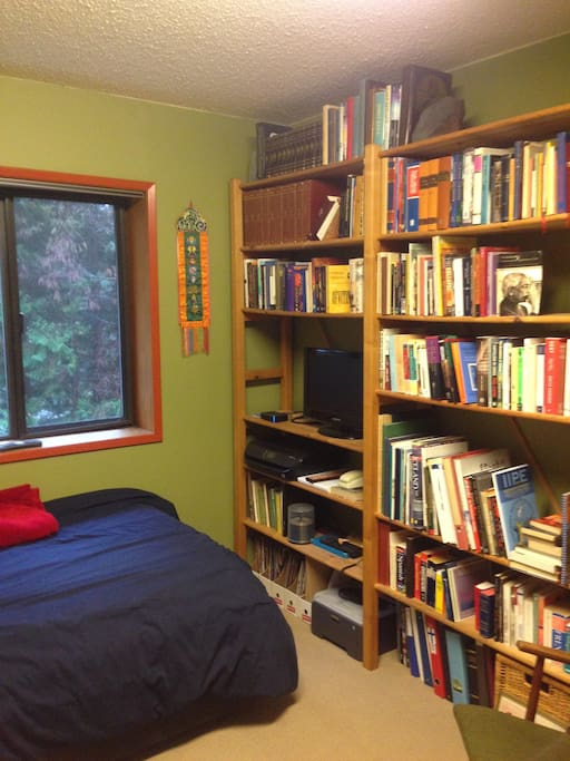 Bed and bookshelf.