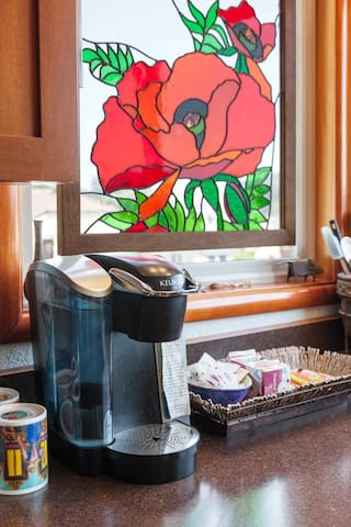 A Keurig coffee maker and snack bars (or teas) makes mornings fast and easy!