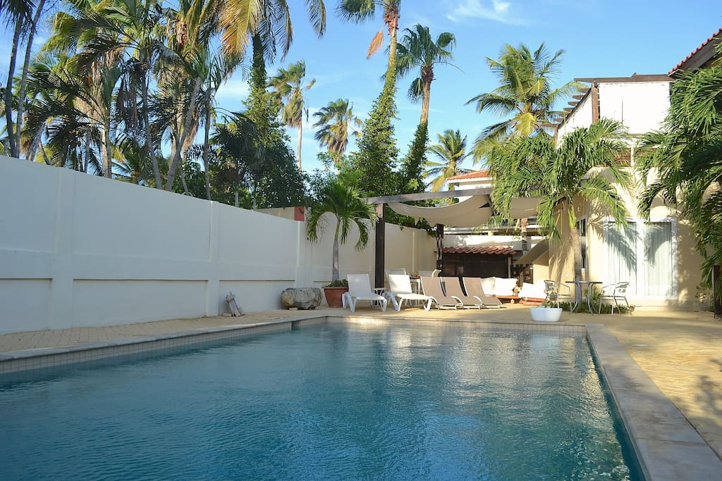 Sitting under the palapa or lying in the hammock enjoying the full view of the large pool and backyard