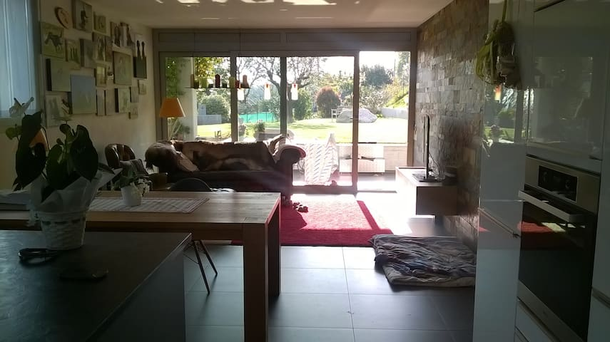 The living room with view into the garden