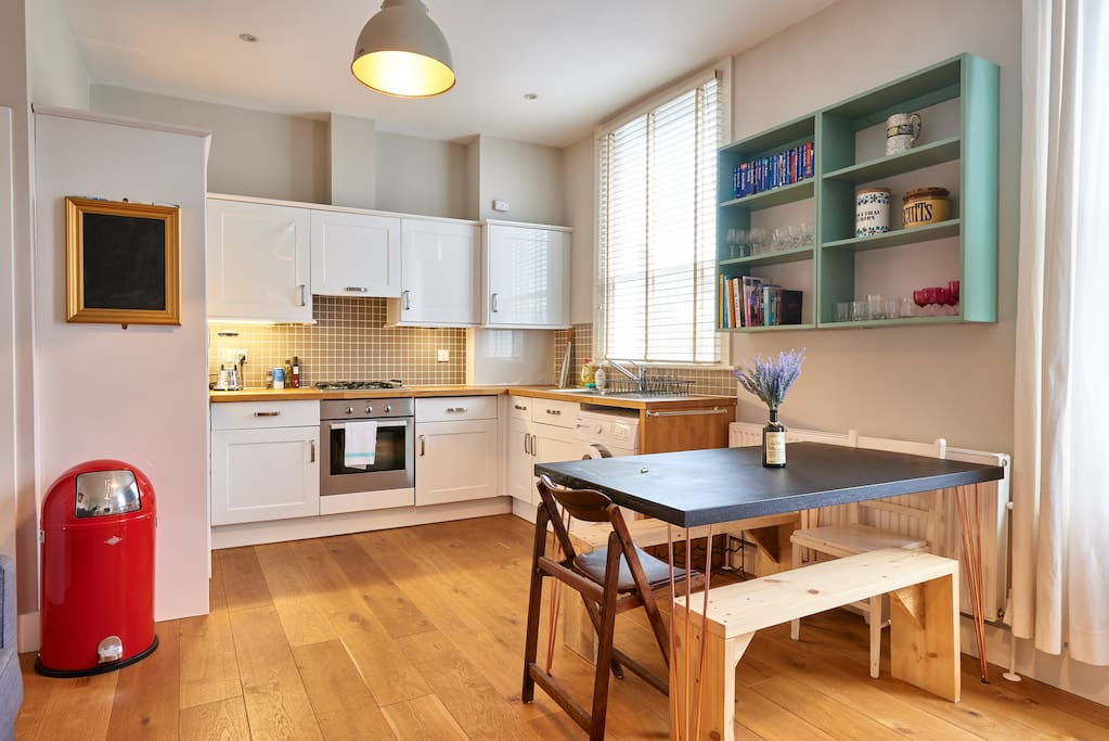 The open-plan kitchen and dining area.