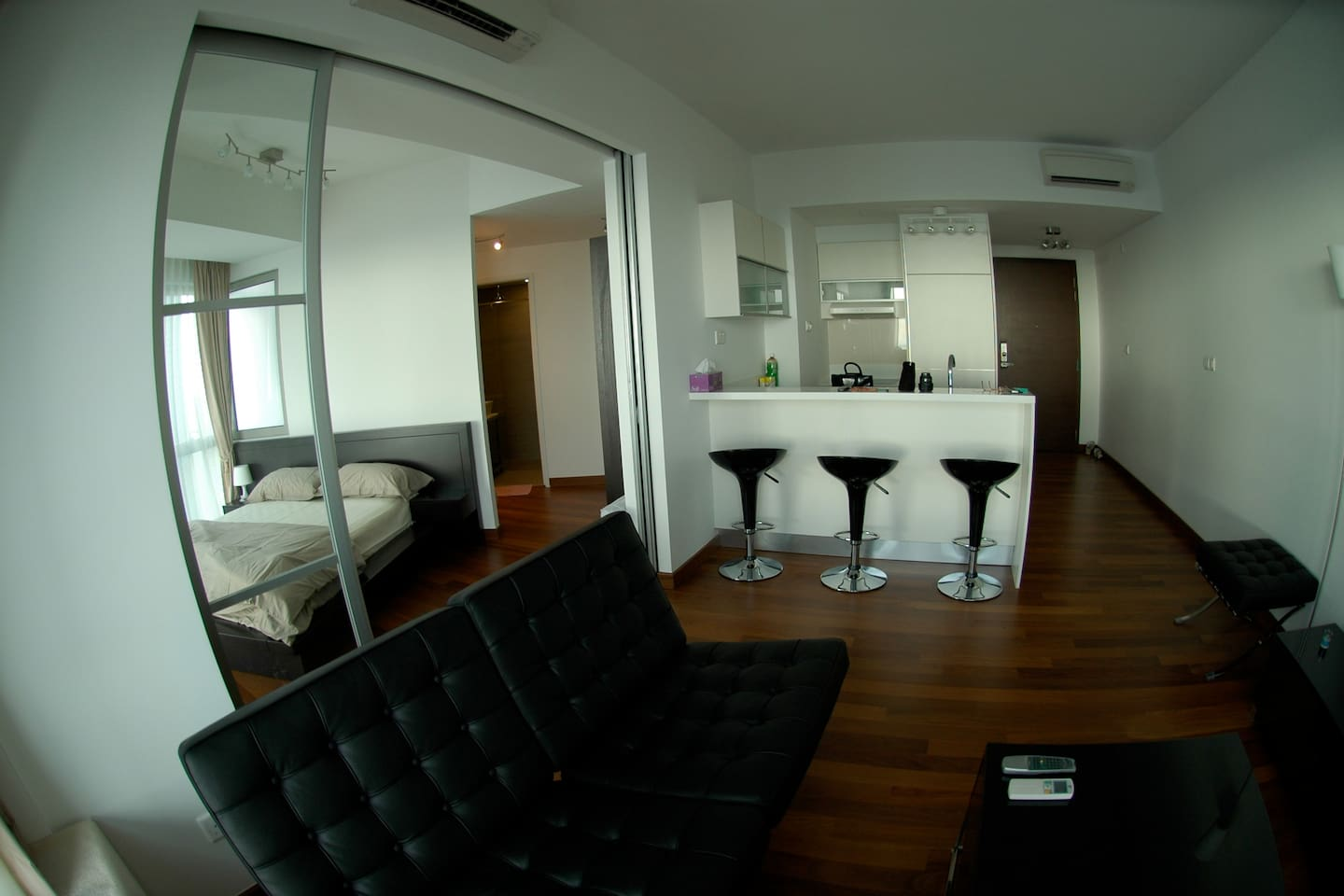 Separate Private Bed Room & Living Room With Bar Counter & Full Entertainment System & Cable TV