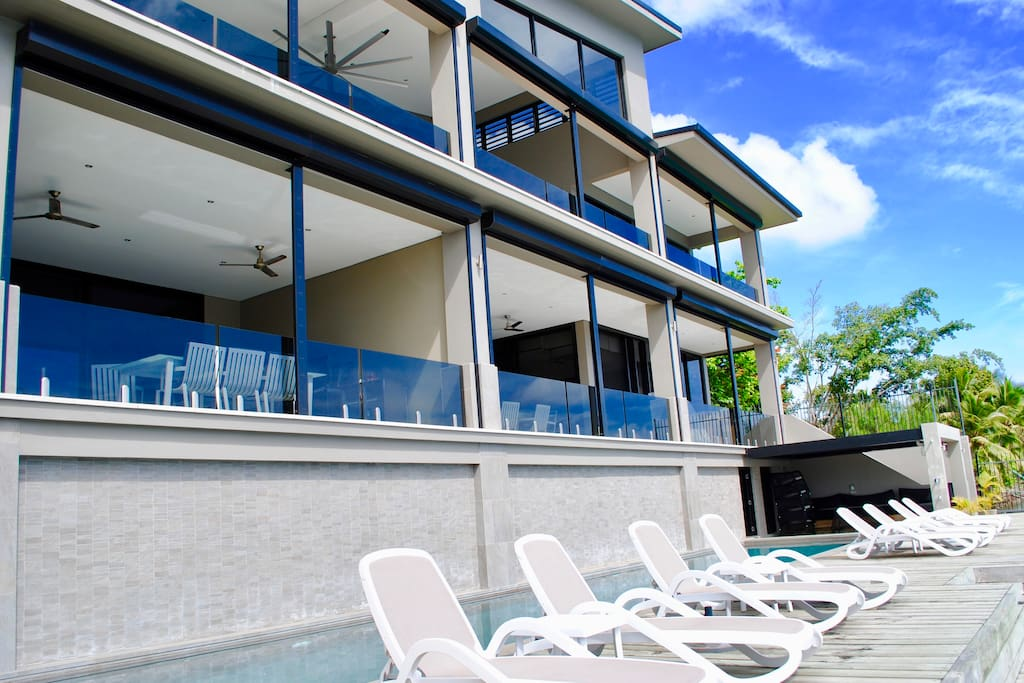 Onyx Vanuatu Harbour Luxury 5 Star Resort Residences - Onyx Poinciana Residence, Onyx Pandanus Penthouse Residence & Onyx Frangipani Residence with 20 meter sparkling pool overlooking Port Vila Harbour with BBQ, sunbathing & entertaining areas.