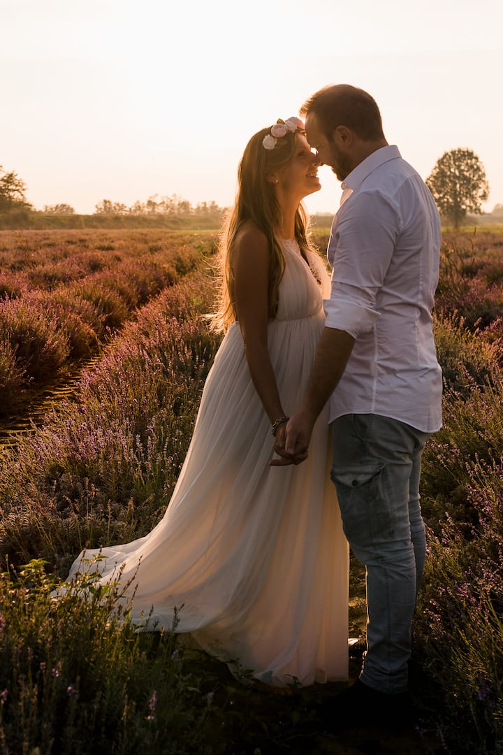 Couple session in a lavender field