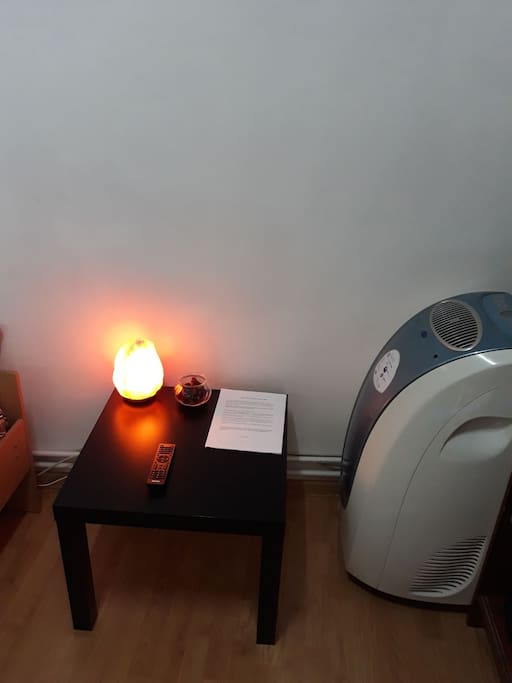 Room with Air Conditioning humidifier and fan.