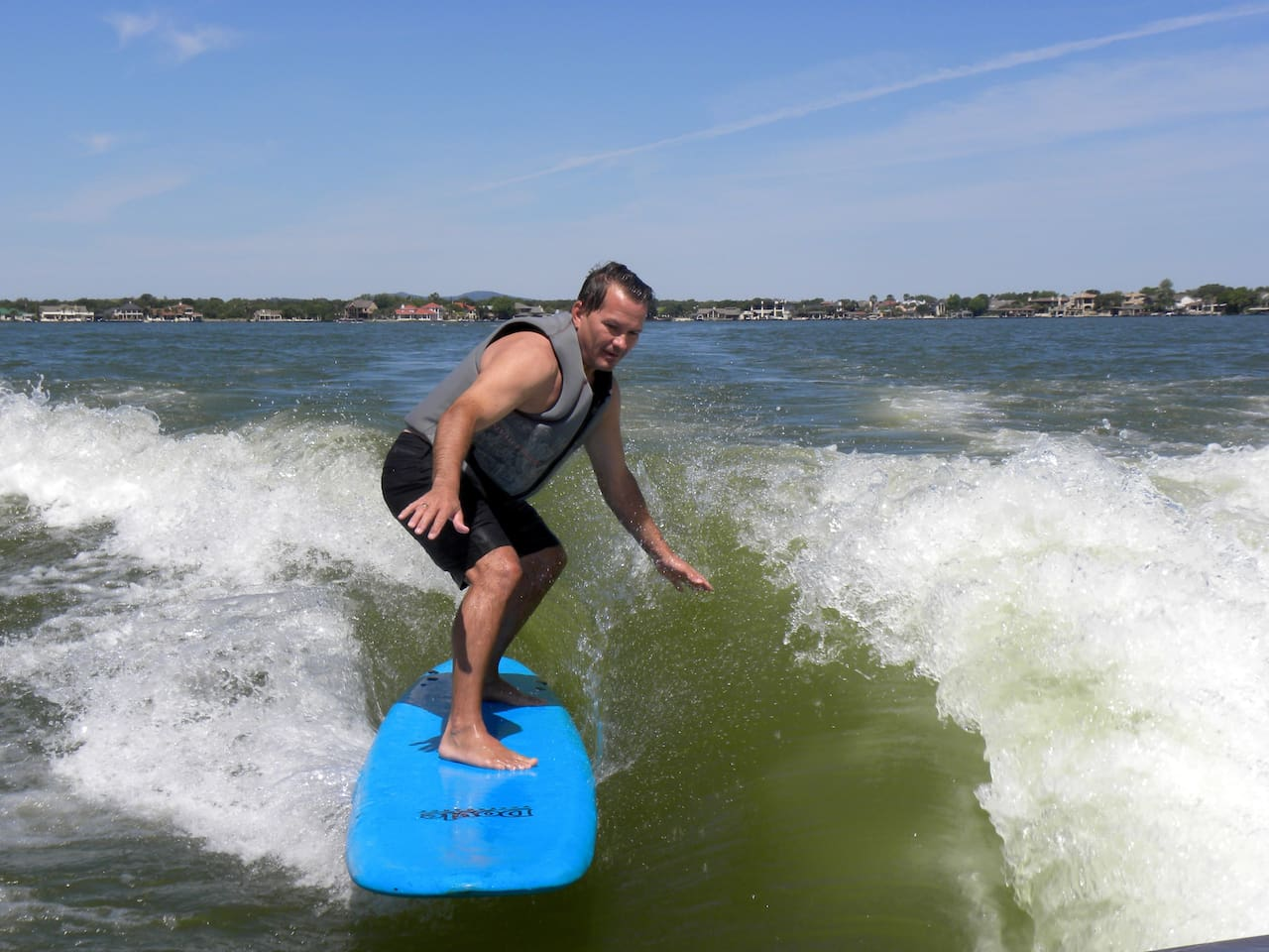 Surfing the beautiful waters of LBJ