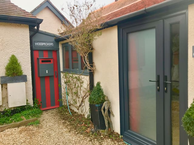 Winter - New double glazed entrance doors with one opaque and one small clear side panel