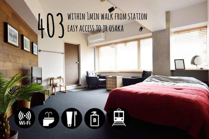 *403* 1min to sta. Easy access to OSAKA sta.【WIFI】