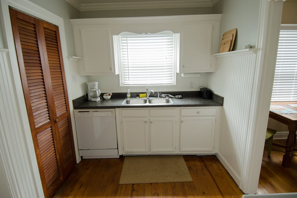 Kitchen with utility room to the left