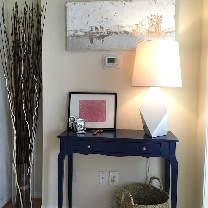 Entryway with local art.